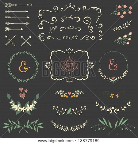 Wedding graphic set with swirls, arrows, laurels, wreaths, branches and bird.