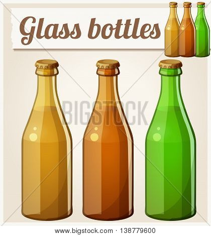 Glass bottles without label. Detailed vector icon. Series of food and drink and ingredients for cooking.