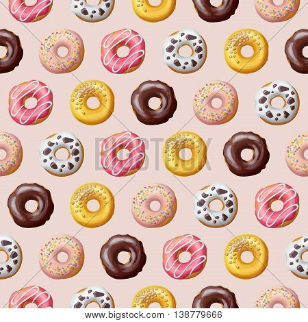 Donut seamless pattern. Sweet food vector illustration