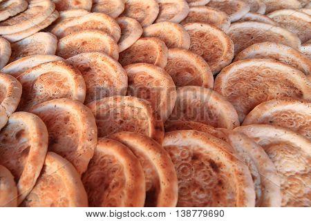closeup of traditional naan food in xinjiang china
