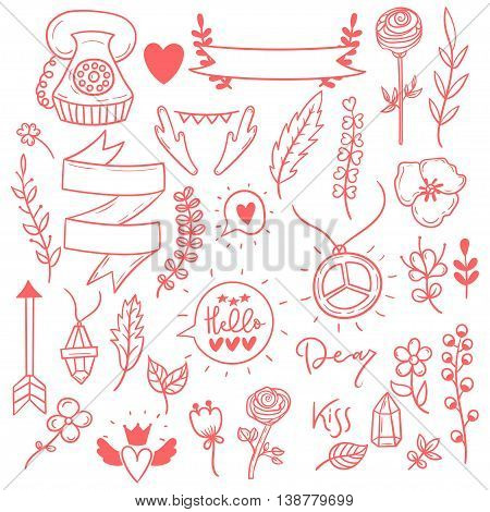 Set of cute girly vector vintage boho doodle stickers. Hand drawn floral elements.