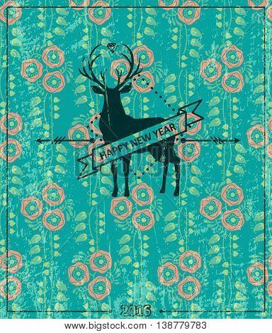 Hipster deer 2. New Year vector illustration.