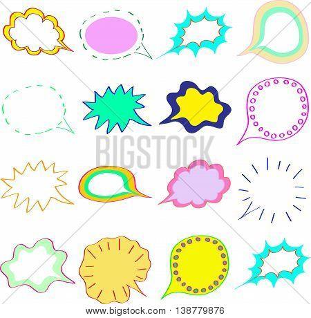 Blank empty colorful speech bubbles clouds set