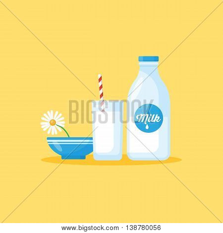 Milk bottle and milk glass. Healthy eating concept for graphic and web design