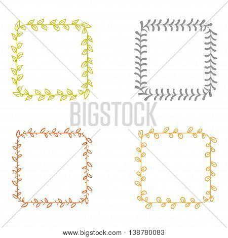 Set of cute vintage vector hand drawn floral frames.