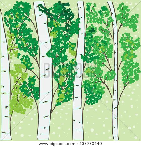 hand-drawing the birch grove on a green background