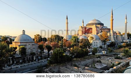 Hagia Sophia museum in Istanbul with sunset sky