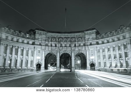 Admiralty Arch near Trafalgar Square in London at night in Black and White.