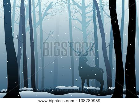 Silhouette illustration of a deer in the woods during wintertime