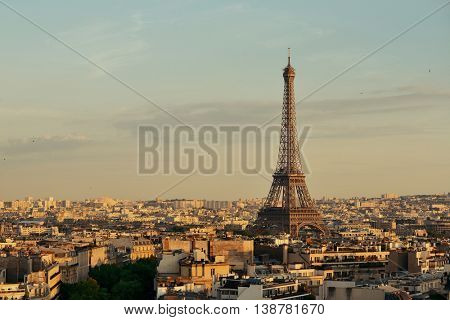 Paris rooftop view skyline and Eiffel Tower in France.