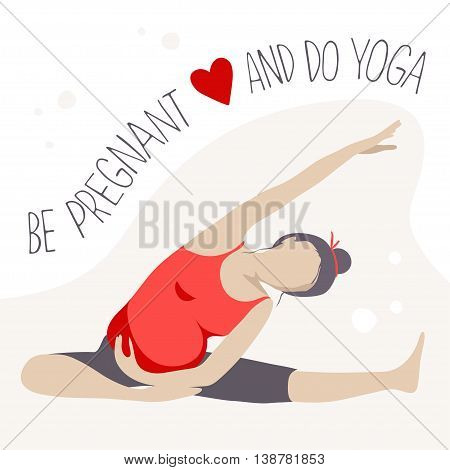 Prenatal Yoga. Pregnant woman doing exercise. Vector illustration
