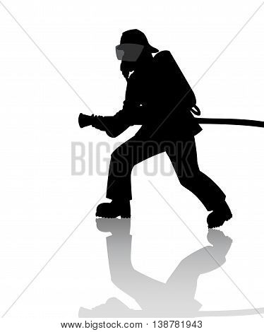Silhouette of a firefighter in action on white background