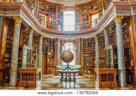 Pannonhalma Hungary - June 27 2016: Pannonhalma Abbey library interior in Hungary. UNESCO's World Heritage Site