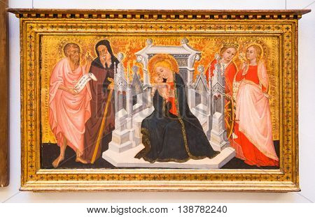 ROME, ITALY - APRIL 8, 2016:  Icon, Virgin Mary with Christ. Capitoline hill museum