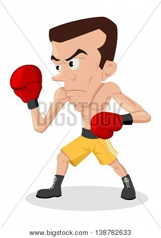 Cartoon illustration of a skinny boxer isolated on white
