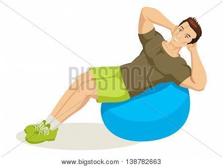 Cartoon illustration of a man exercising using fitness ball