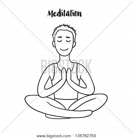 Young Man meditates in the Lotus position. Calm pose, mental balance, harmony, spirituality energy, body exercise sitting. Linear outline vector illustration.