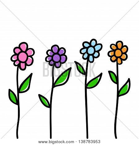 Doodle illustration of flowers isolated on white