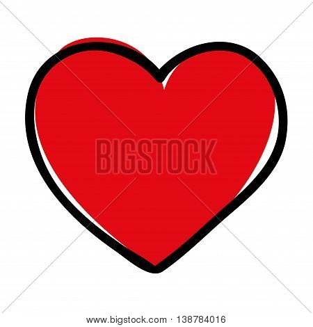 Doodle illustration of a heart symbol isolated on white