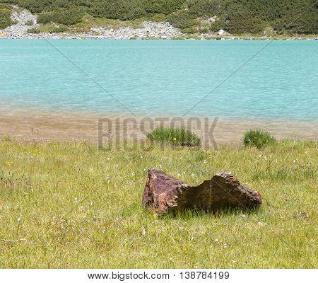 Rifflsee Shore In Austria In Summer