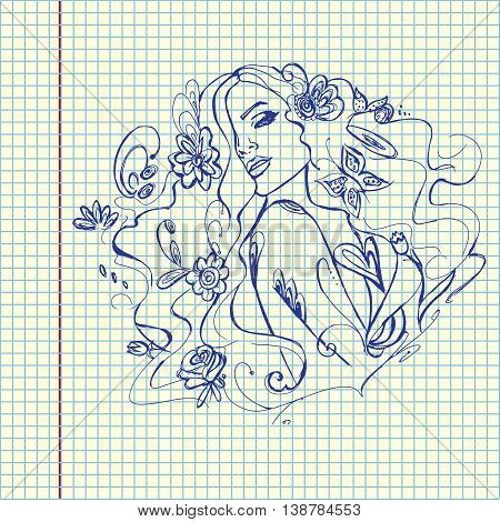 Young beautiful girl with flowers. Hand drawn vector stock illustration. Sheet ball pen drawing.