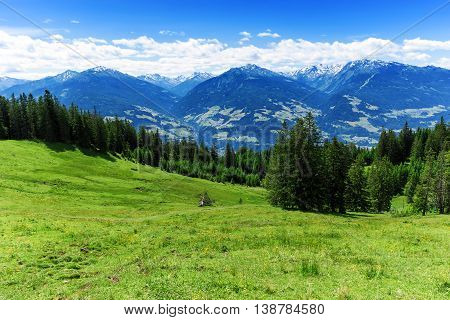 Panoramic view of summer mountain scenery in the Alps. Austria Tyrol.