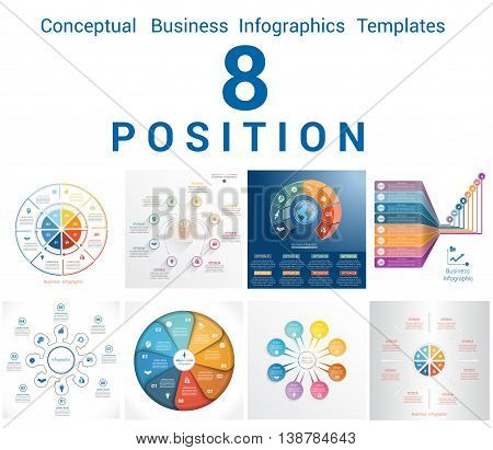 Set Vector Templates Infographics Business Conceptual Cyclic Processes for Eight Positions Text Area Possible to use for Workflow Banner Diagram Web Design Timeline Area Chart