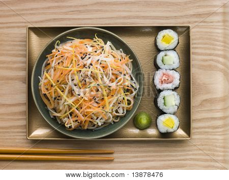 Overhead shot of Daikon and Carrot Salad with Sesame Sushi and Wasabi