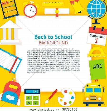 Back to School Paper. Vector Illustration Flat Style Education Concept with Lettering.