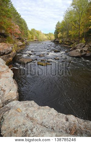 Autumn Colors Along the Kettle River in Banning State Park near Sandstone Minnesota