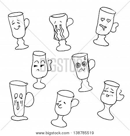 Glass collection with faces. Hand drawn vector stock illustration. Black and white whiteboard drawing.