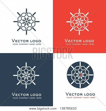 Set of vector abstract geometric logo. Sacred geometry icon. Identity design.