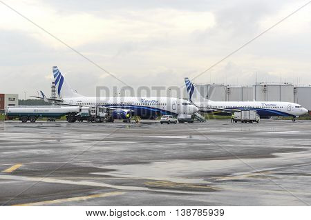 MOSCOW, RUSSIA - MAY 19, 2016: Preparing to fly aircraft Nordstar airlines Boeing-737. Domodedovo International Airport.