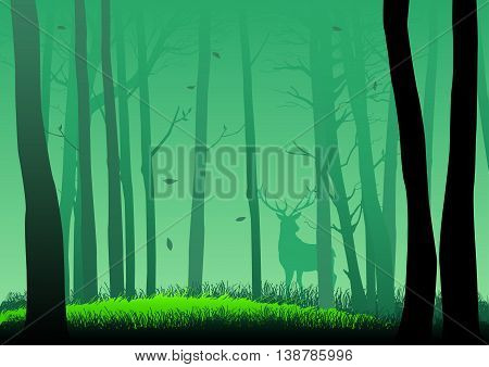 Silhouette illustration of a deer in the woods