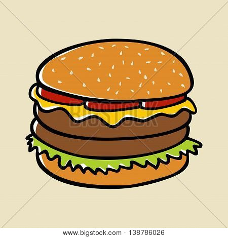 Doodle illustration of a hamburger, food icon and symbol