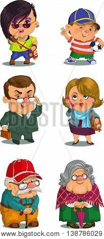 Funny cartoon. Vector illustration. Set of family members.Grandmother grandfatherather father mother son daughter. Positive characters.