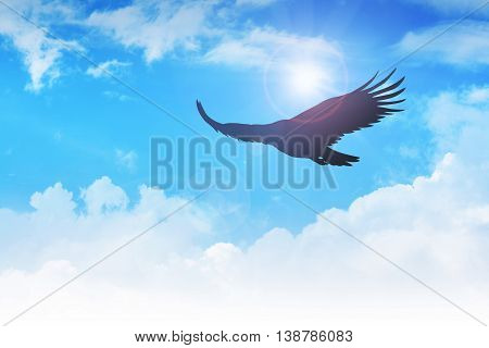 An eagle flying in the air with beautiful blue sky and clouds
