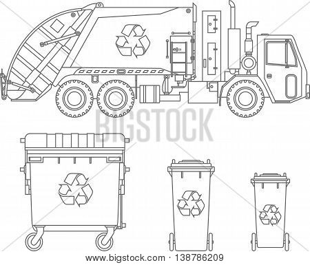 Garbage truck and three variants of dumpsters on white background in flat style.