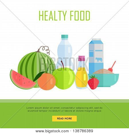 Healthy food concept web banner. Vector in flat design. Illustration of various food cereal, oil, water, milk, fruits and vegetables on white background for cafe, stores, farm web pages design.