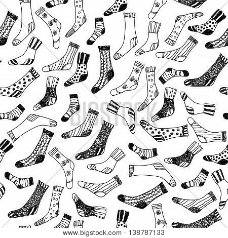 Seamless pattern with socks, painted in a cartoon style. Vector illustration.