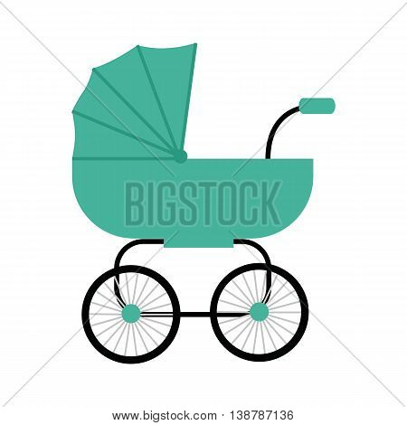 Classic green baby carriage vector in flat style. Newborn happiness concept for parents party, baby shower invitation card. Child transportation and family walks illustration. On white background.