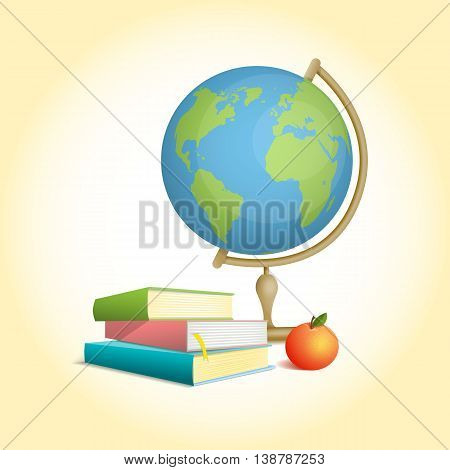 Three colored books stacked pile one above the other and apple and globe. The composition on the theme of the school. Vector illustration in cartoon style.