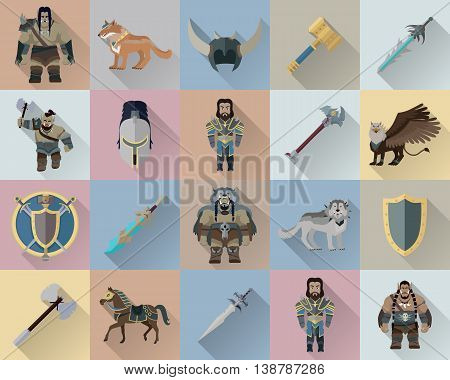Game set of fantasy warriors. Mythical monsters and people with different weapons and armors. Stylized fantasy characters. Game objects in flat design isolated. Vector illustration.