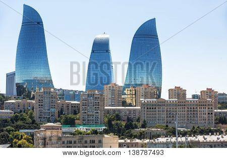 Flame Towers Skyscraper In Baku, Azerbaijan
