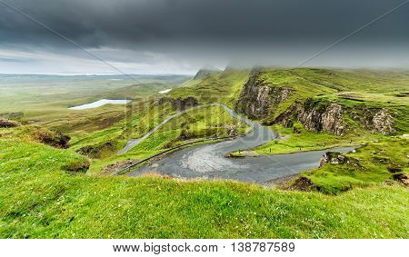 Empty Curvy Road in Scottish Highlands - View from Quiraing Hill