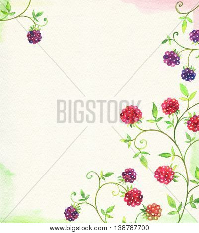 Watercolor card with raspberry