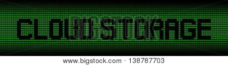 Cloud Storage text on green laptops background illustration