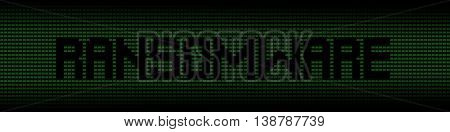 Ransomware text on green laptops background illustration