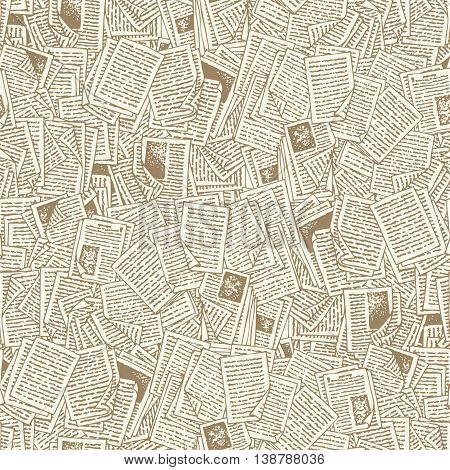 Seamless Vector Pattern with Beige Book Pages