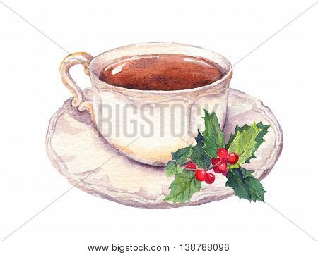 Tea cup and saucer with christmas mistletoe. Watercolor